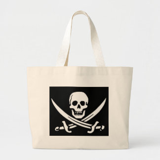 Cráneo y espadas del pirata bolsa tela grande