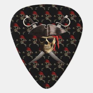 Cráneo y espadas del pirata púa de guitarra