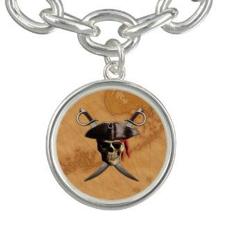 Cráneo y espadas del pirata pulseras con dijer