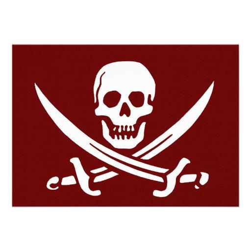 Cráneo y espadas, Rogelio alegre del pirata Invitaciones Personales