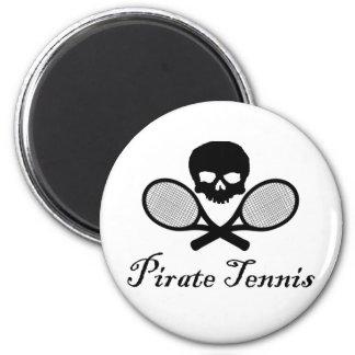 Cráneo y estafa del tenis del pirata imán redondo 5 cm