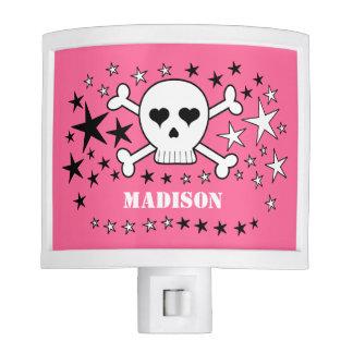 Cráneo y estrellas lindos adaptables rosados de luces de noche
