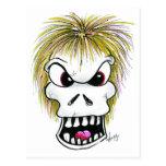 Cráneo y fantasma de Halloween Postales