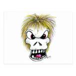 Cráneo y fantasma de Halloween Tarjetas Postales