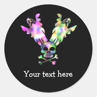 Cráneo y fantasmas personalizados etiqueta redonda