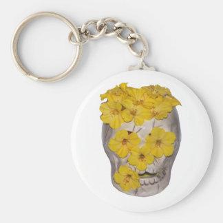 Cráneo y flores amarillas llaveros personalizados