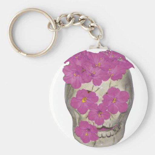 Cráneo y flores llaveros