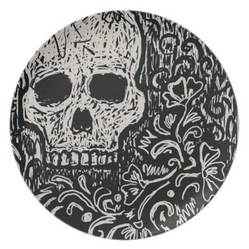Cráneo y flores, placa decorativa platos para fiestas