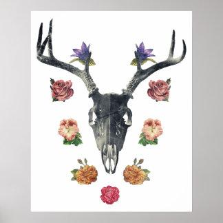 Cráneo y flores póster