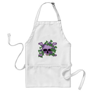 Cráneo y flores púrpuras delantal