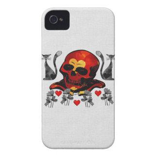 Cráneo y gatos Case-Mate iPhone 4 protectores