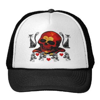 Cráneo y gatos gorras de camionero