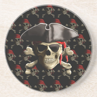 Cráneo y gorra del pirata posavasos para bebidas
