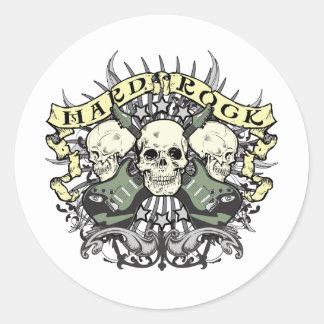 Cráneo y guitarras del heavy pegatina redonda
