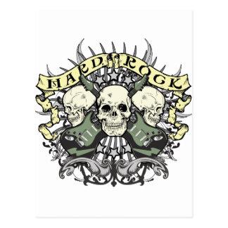 Cráneo y guitarras del heavy tarjeta postal