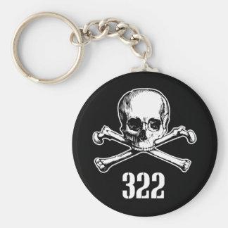Cráneo y huesos 322 llavero redondo tipo pin