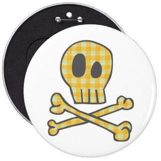 Cráneo y huesos - amarillo de la guinga pin redondo 15 cm