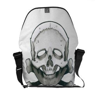 Cráneo y huesos bolsa de mensajería