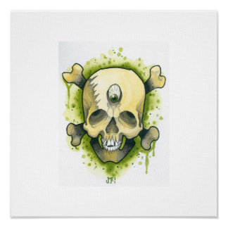 Cráneo y huesos del mutante poster