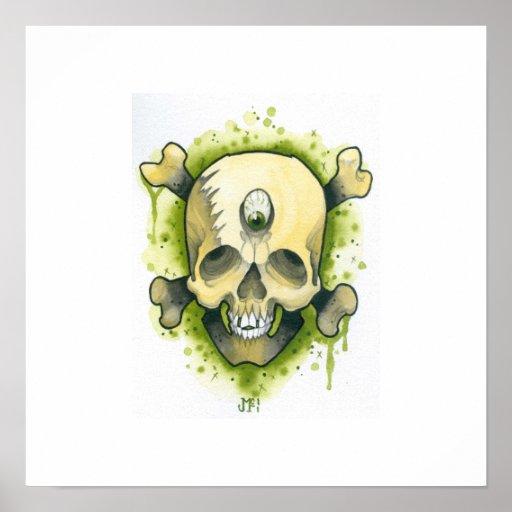 Cráneo y huesos del mutante póster