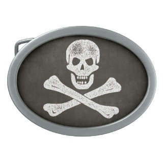 Cráneo y huesos hebilla de cinturon oval