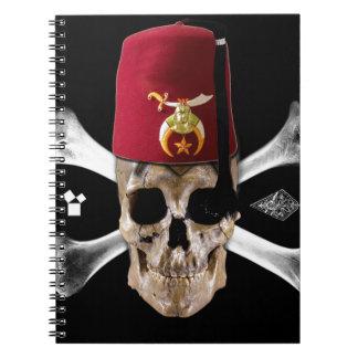 Cráneo y huesos masónicos de Shriner con Fes Libro De Apuntes Con Espiral