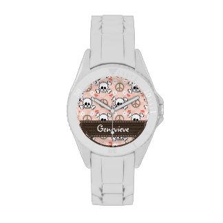 Cráneo y huesos personalizados del amor de la paz relojes de pulsera