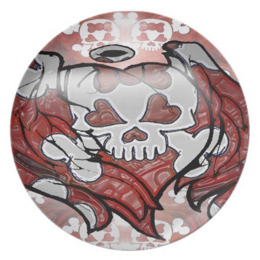 Cráneo y huesos plato para fiesta