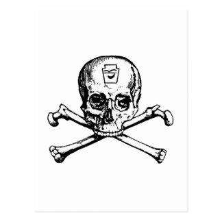 Cráneo y huesos - sociedad secreta postal