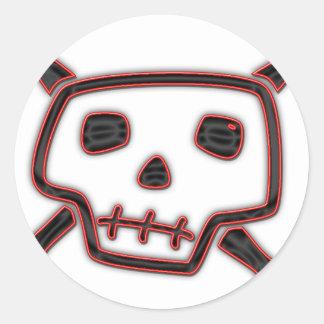 Cráneo y huesos torpes etiqueta redonda
