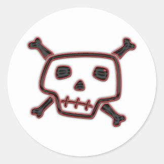 Cráneo y huesos torpes pegatinas redondas