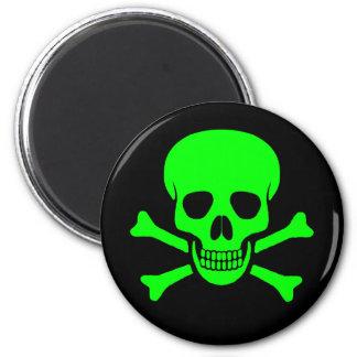 Cráneo y imán verdes y negros de la bandera pirata