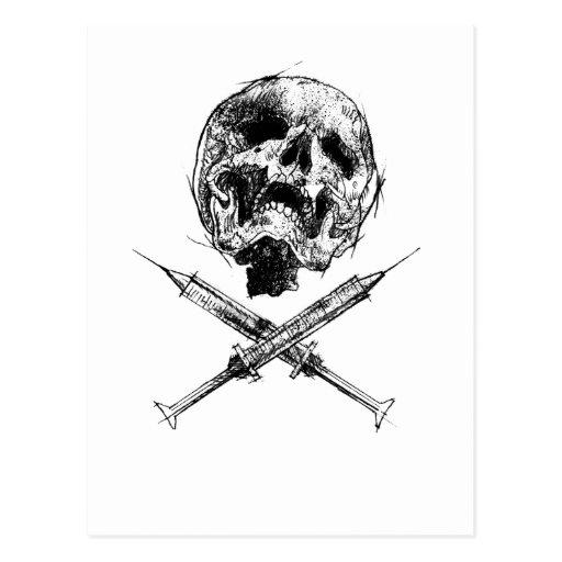 Cráneo y jeringuillas postal