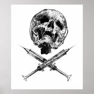 Cráneo y jeringuillas póster