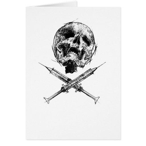 Cráneo y jeringuillas tarjeta de felicitación