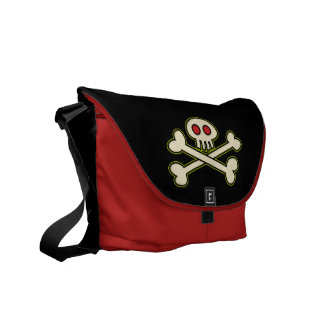 Cráneo y la bolsa de mensajero de la bandera pirat bolsa de mensajeria