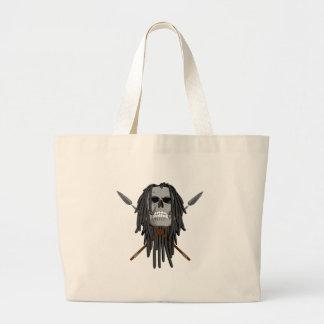 Cráneo y lanzas bolsa tela grande