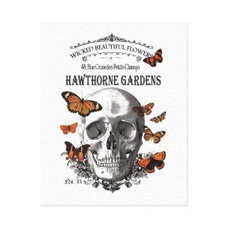 cráneo y mariposas modernos de Halloween del Impresiones De Lienzo