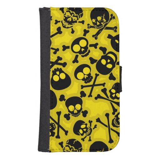Cráneo y modelo de la bandera pirata fundas billetera para teléfono