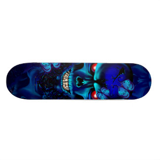 Cráneo y monopatín negros de los rosas skateboards