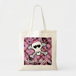 Cráneo y monstruo rosados de la bandera pirata bolsas de mano