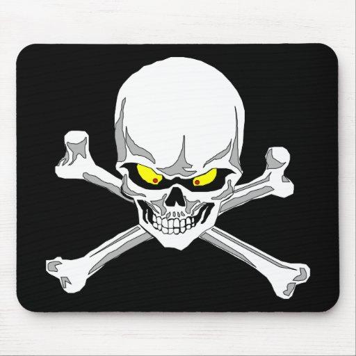 Cráneo y mousepad de la bandera pirata tapete de ratón