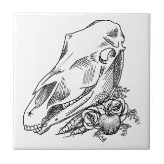 Cráneo y ofrendas del caballo a Epona Azulejo Cuadrado Pequeño