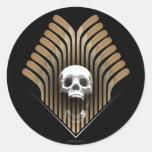 Cráneo y palillos etiqueta