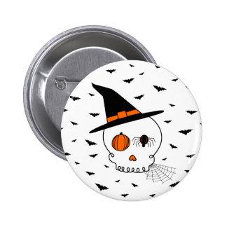 Cráneo y palos de Halloween Pin
