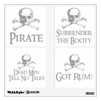 Cráneo y paquete cruzado del fiesta del pirata de  vinilo
