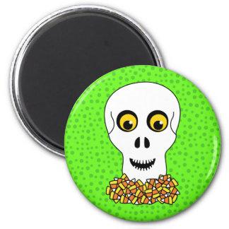 Cráneo y pastillas de caramelo Halloween Imán Redondo 5 Cm