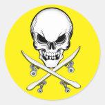 Cráneo y pegatina amarillo de los tableros de la c