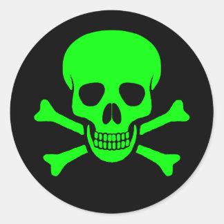 Cráneo y pegatina verdes y negros de la bandera pi