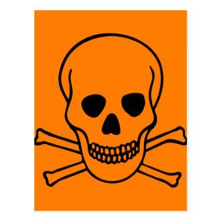 Cráneo y peligro de la bandera pirata postal